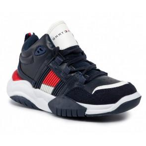 Tommy Hilfiger kids boys high lace up sneaker schoen in de kleur donkerblauw