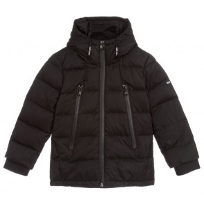 Hugo Boss kids boys black down padded puffer coat in de kleur zwart