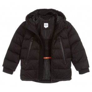 Hugo Boss kids boys black down padded puffer coat in de kleur zwart