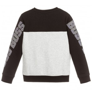 Hugo Boss kids boys sweater trui sweatshirt in de kleur grijs/zwart