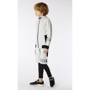 Hugo Boss kids boys sweatvest cotton zip up vest in de kleur grijs