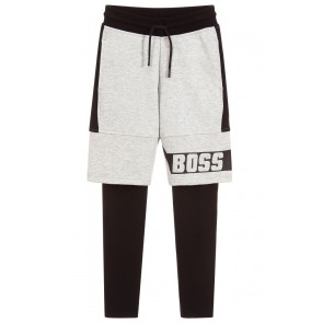 Hugo Boss kids boys grey 2in1 shorts legging broek in de kleur zwart/grijs