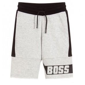 Hugo Boss kids boys sweat short in de kleur grijs/zwart