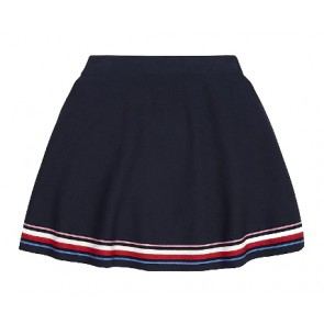 Tommy Hilfiger kids girls fiijngebreide rok global stripe skirt in de kleur donkerblauw