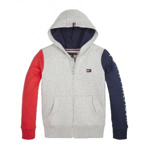Tommy Hilfiger kids boys colorblock hooded sweatvest in de kleur grijs