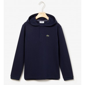 Lacoste kids boys hooded pique polo shirt in de kleur donkerblauw