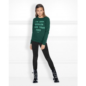 Nik en Nik kids girls feed sweater trui in de kleur donkergroen