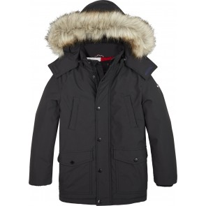Tommy Hilfiger parka jas met logo in de kleur zwart