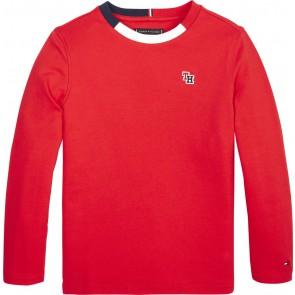 Tommy Hilfiger longsleeve shirt met logo bies in de kleur rood