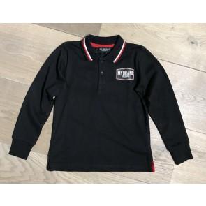 My Brand Junior longsleeve polo shirt met logo in de kleur zwart