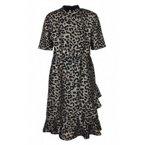 D-xel panterprint jurk Rebeka met opstaande boord in de kleur zwart/goud