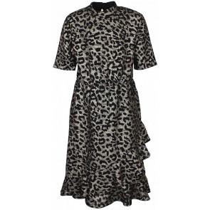 D-XEL jurk met zwarte panterprint in de kleur goud