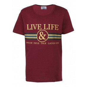 D-xel t-shirt Judi  met gouden letters in de kleur bordeaux rood