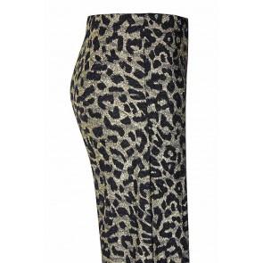 D-xel wijde broek Rebeka met panterprint in de kleur zwart/goud