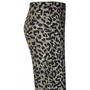 D-XEL broek met wijde pijpen en zwarte panterprint in de kleur goud