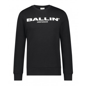 Ballin Amsterdam sweater trui met logo print in de kleur zwart