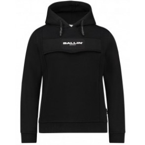 Ballin Amsterdam kids hoodie sweater trui met logo print in de kleur zwart