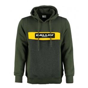 Ballin Amsterdam kids hoodie sweater trui met logo print in de kleur army green