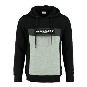 Ballin Amsterdam kids hoodie anorak sweater trui met logo print in de kleur zwart/grijs