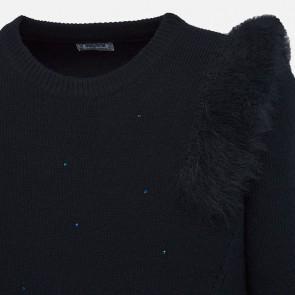 Mayoral kids meisjes trui met steentjes en fake fur in de kleur donkerblauw