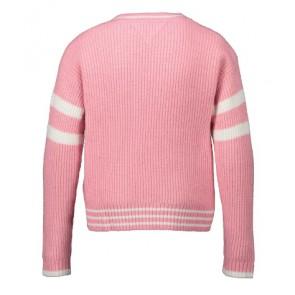 Tommy Hilfiger girls loose hilfiger sweater gebreide trui met logo print in de kleur zachtroze