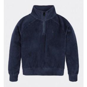 Tommy Hilfiger girls rib velours sweatshirt sweater trui in de kleur donkerblauw