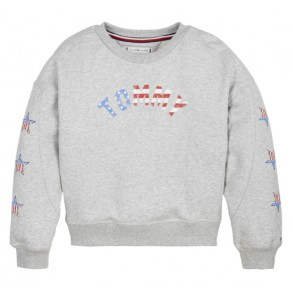 Tommy Hilfiger girls sweaer trui iconic americana met sterren in de kleur grijs