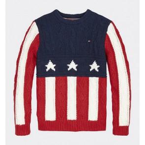 Tommy Hilfiger boys gebreide trui met stars en stripes in de kleur rood/blauw