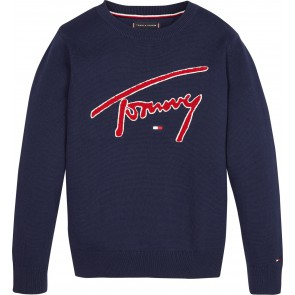 Tommy Hilfiger boys gebreide trui met logo print in de kleur donkerblauw