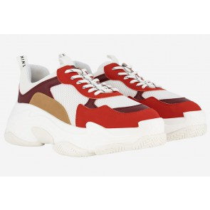 Nik en Nik schoenen chunky sneakers in de kleur wit/rood/bruin