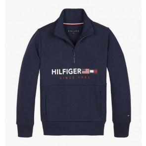Levi's kids sweater trui met logo flag interlock zip in de kleur donkerblauw