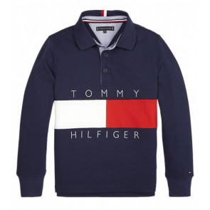 Tommy Hilfiger kids boys pique logo flag polo longsleeve in de kleur donkerblauw