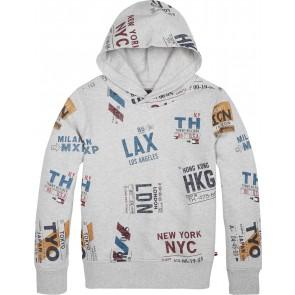Tommy Hilfiger kids boys hoodie met all over print in de kleur grijs