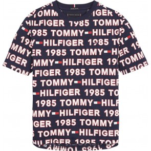 Tommy hilfiger kids boys all over print in de kleur donkerblauw