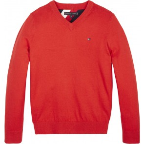 Tommy hilfiger kids boys fijngebreid truitje essential neck sweater in de kleur rood