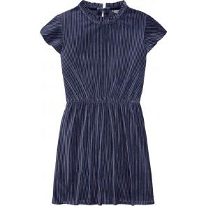Tommy Hilfiger kids girls velvet plissé dress jurk in de kleur blauw