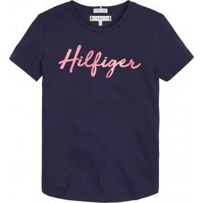 Tommy Hilfiger kids girls t-shirt hilfiger tee in de kleur donkerblauw