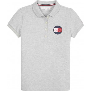 Tommy Hilfiger kids girls polo shirt logo embleem in de kleur grijs