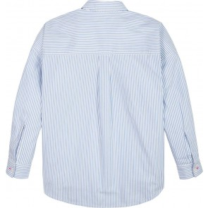 Tommy Hilfiger blouse ithaca stripe met logo bies in de kleur lichtblauw