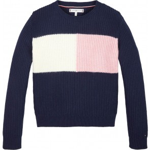 Tommy Hilfiger kids blouse gebreide trui essential colorblock sweater in de kleur donkerblauw