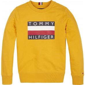 Tommy Hilfiger kids boys sweater trui met logo print in de kleur okergeel