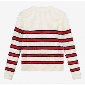 Nik en Nik girls gestreepte gebreide trui Riska pullover in de kleur off white