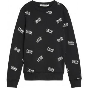 Calvin Klein Jeans sweater trui met overall logo print in de kleur zwart
