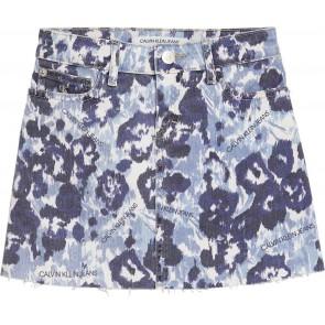Calvin Klein Jeans a-lijn rok met panterprint in de kleur blauw