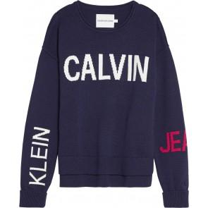 Calvin Klein Jeans gebreide trui met logo in de kleur donkerblauw