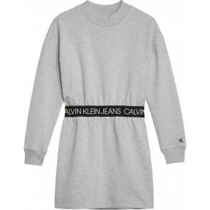 Calvin Klein Jeans jurk met logoband in de kleur grijs