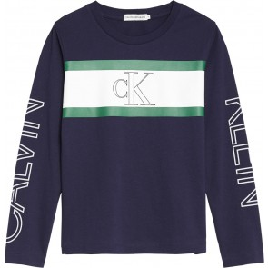 Calvin Klein kids boys longsleeve shirt met logo print in de kleur donkerblauw