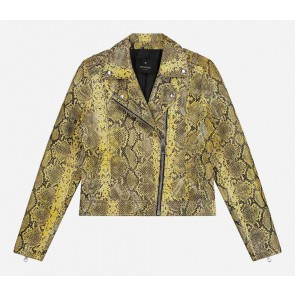 Nik en Nik girls slangenprint Cisly snake jacket in de kleur lemon yellow geel