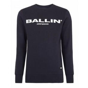 Ballin Amsterdam kids sweater trui met logo print in de kleur donkerblauw