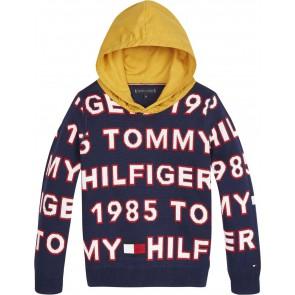 Tommy Hilfiger kids boys gebreide trui met all over print en capuchon in de kleur okergeel